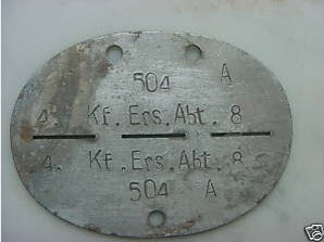 German Dog Tag from the battle of Stalingrad